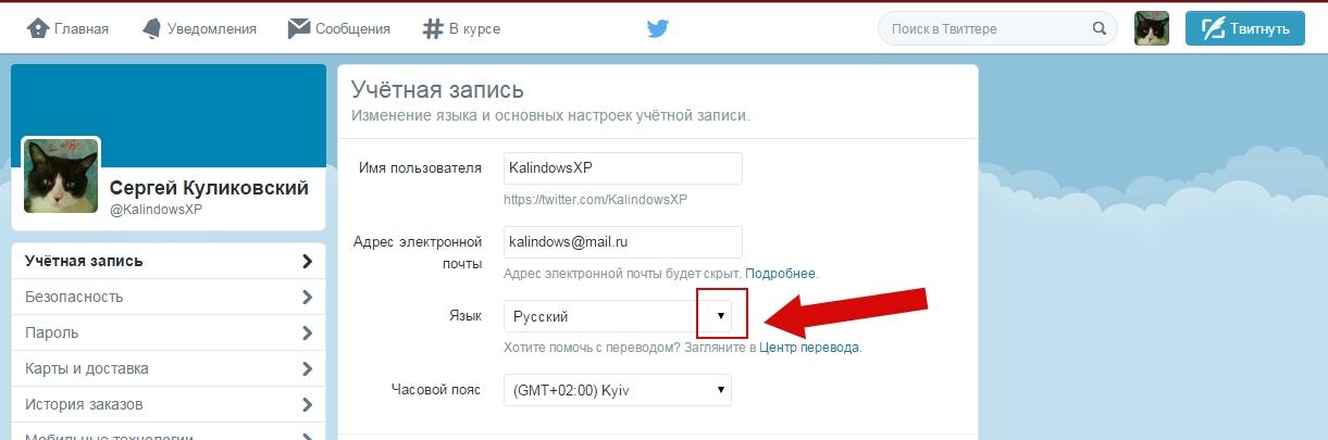 Как изменить язык в Твиттере пошаговая инситрукция