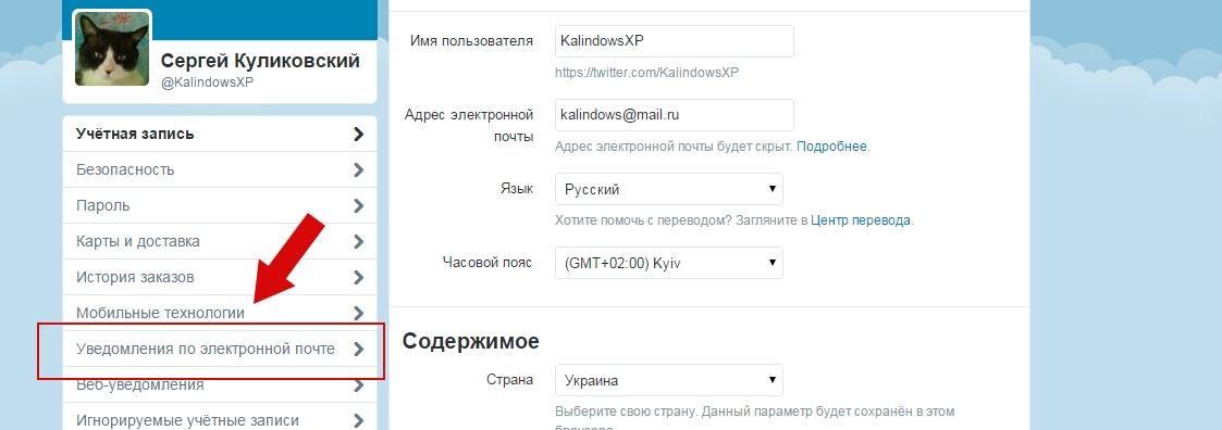 Как настроить email-уведомления в Твиттере пошаговая инструкция