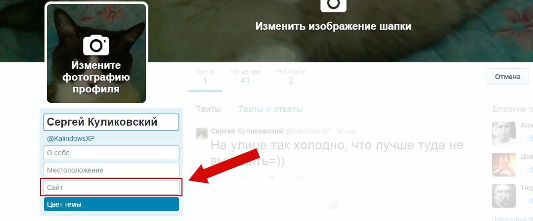 Как в Твиттере добавить сайт в профиль пошаговая инструкция