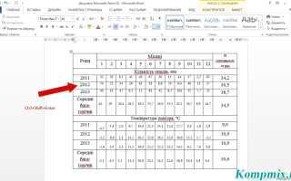 Как разделить таблицу в Microsoft Word 2013