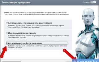 Как активировать пробную версию антивируса ESET NOD32